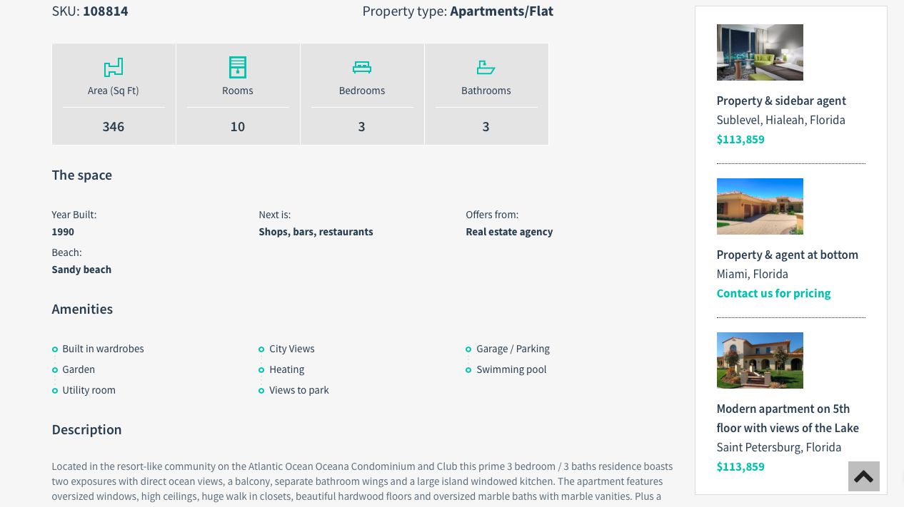 an example of a property management themed website