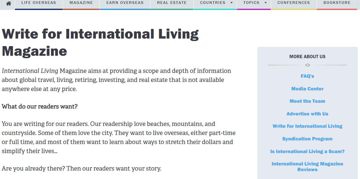 International Living landing page