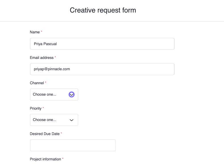 Creative request form in Asana