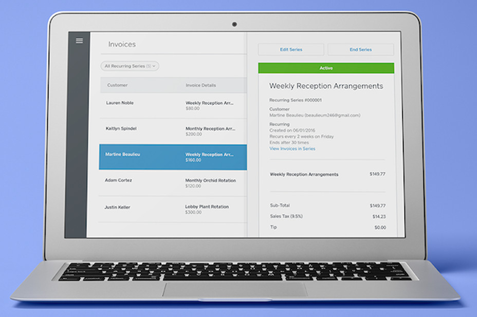 Mockup of Square invoice dashboard on a laptop