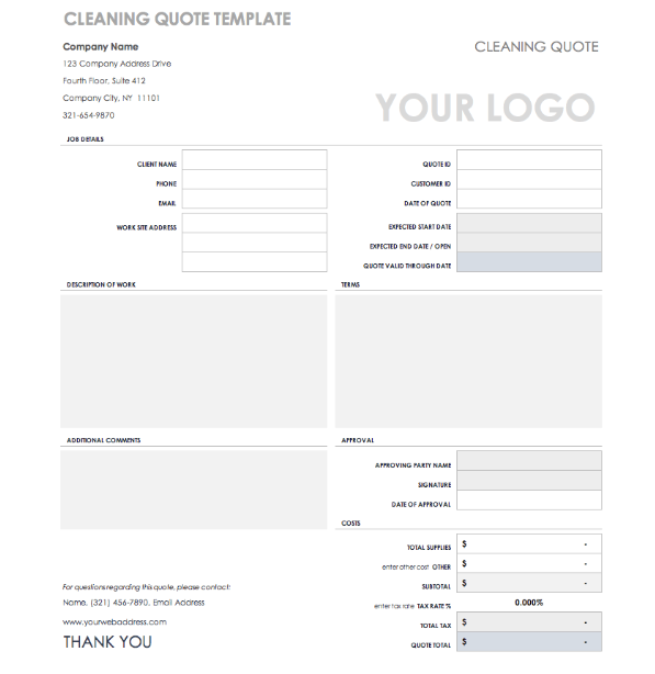 Cleaning Service Price Quote Template