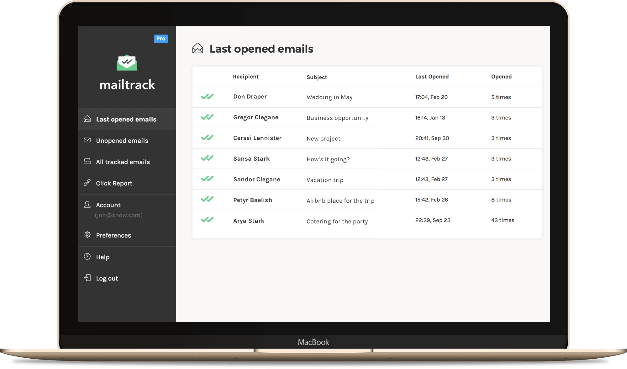 mailtrack dashboard
