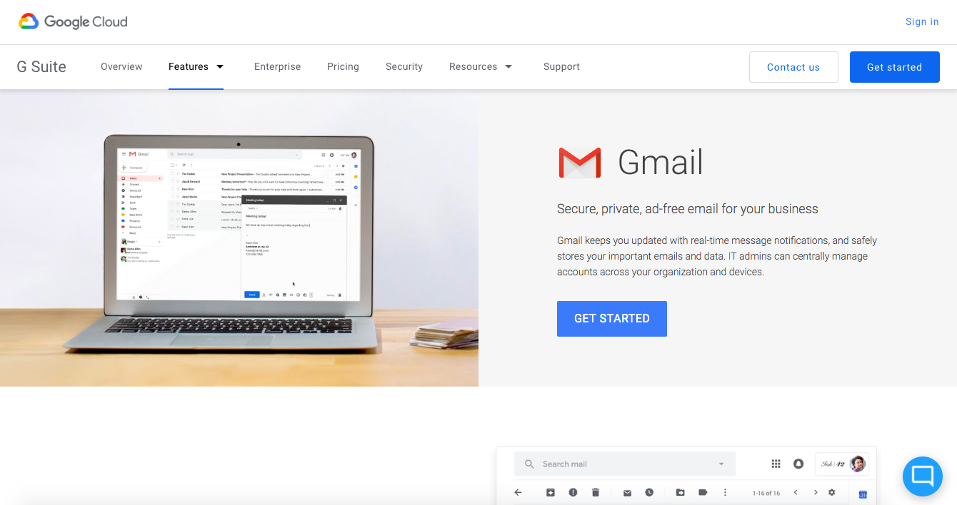 Go to Gmail to register for Gmail for business