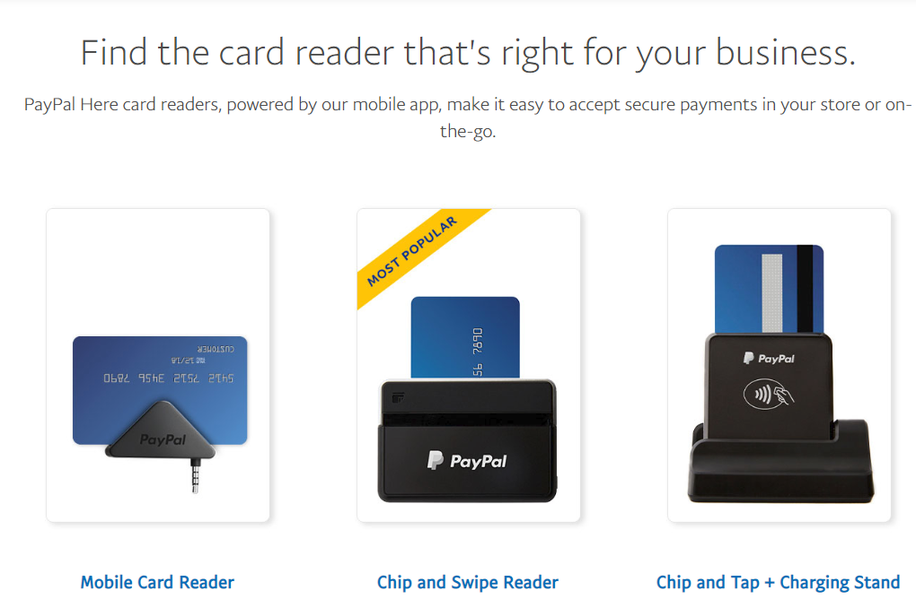 Mockup of different types of PayPal card readers