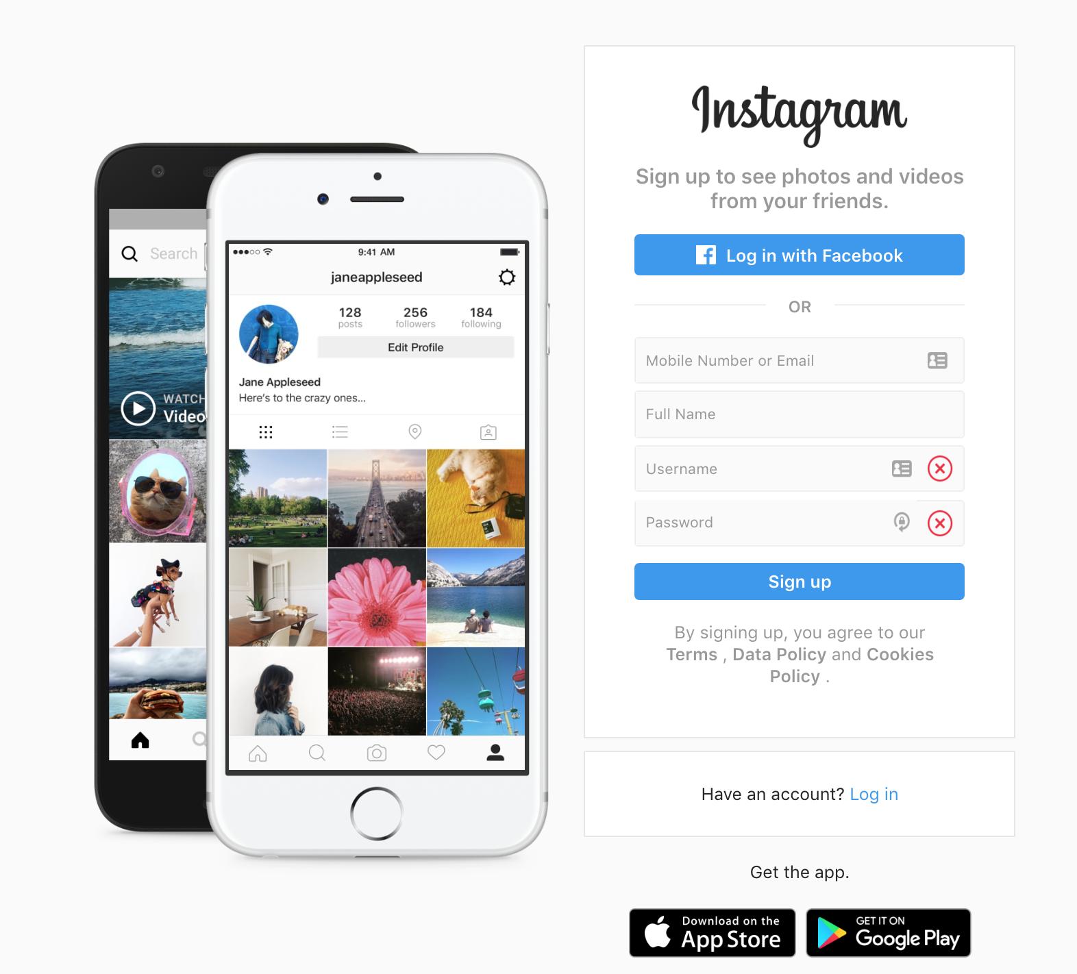 instagram desktop registration page