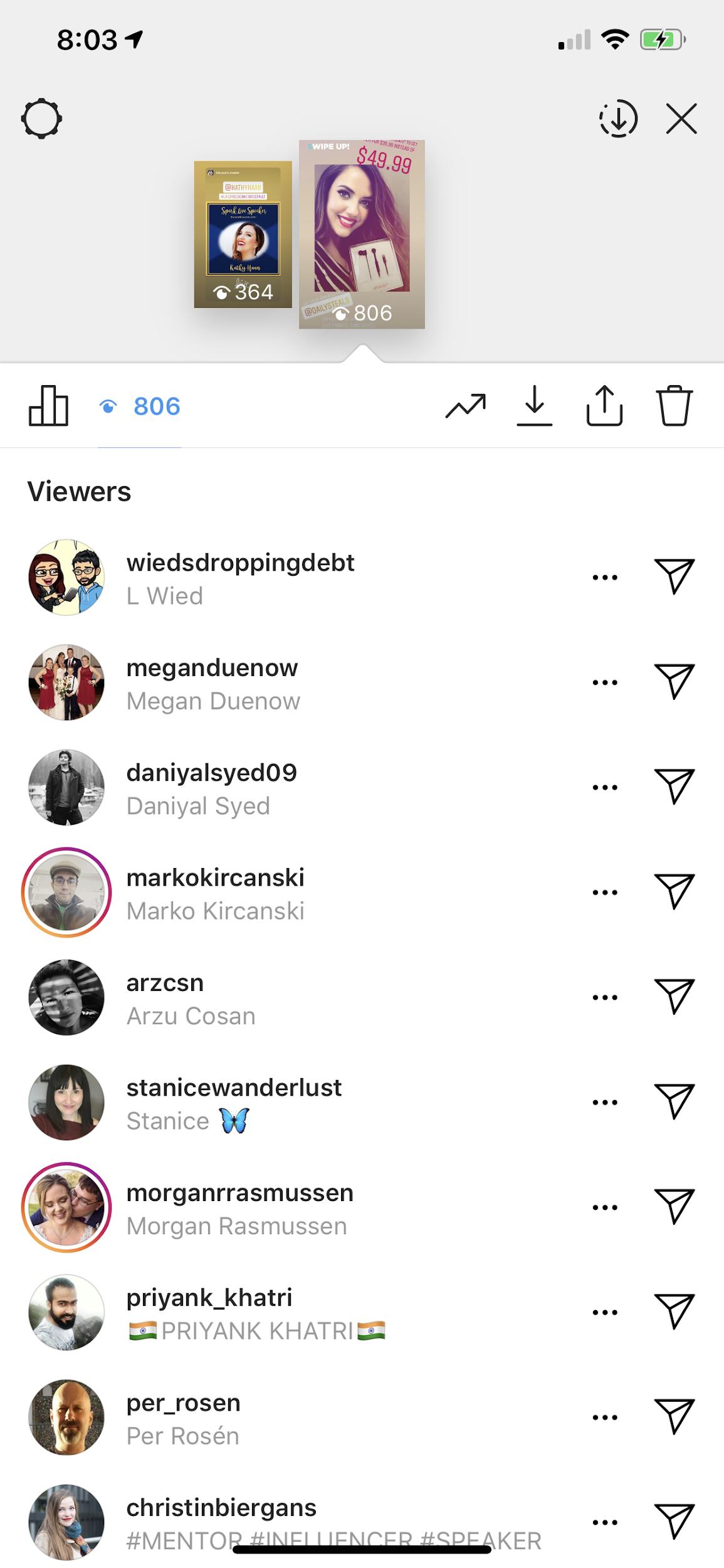 an screenshot of instagram stories