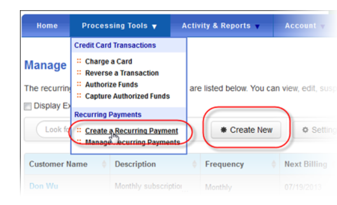 QuickBooks recurring payments