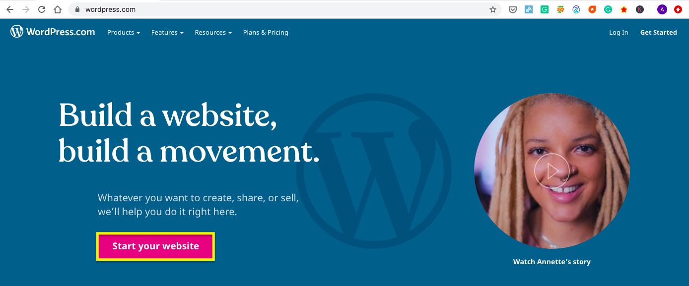 wordpress start a website page