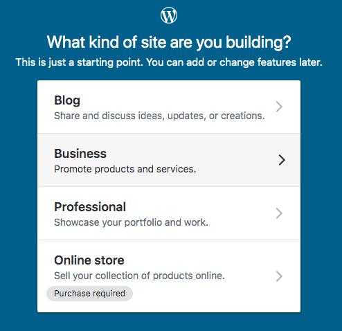 wordpress website type