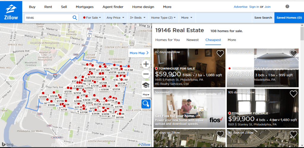 a zillow listing of a specific neighborhood
