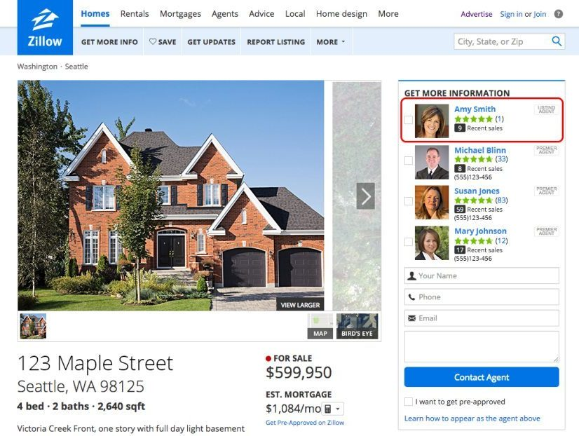 Zillow Premier Agent feature