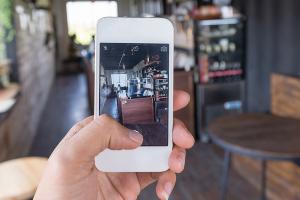 taking picture inside restaurant