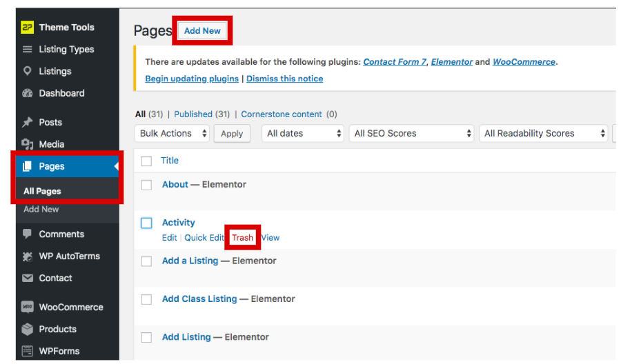 Add and remove pages in WordPress.