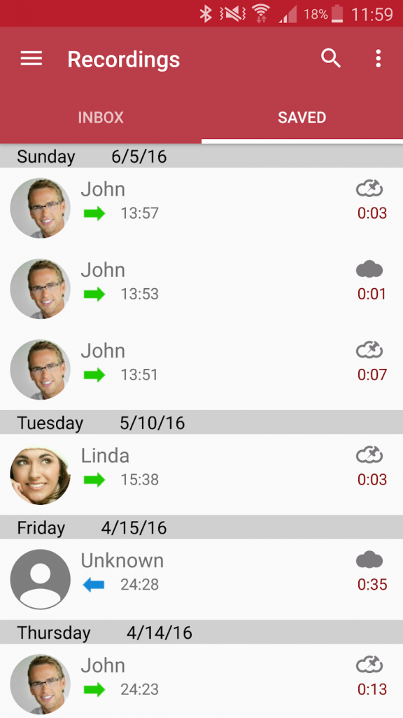 Automatic Call Recorder's mobile app