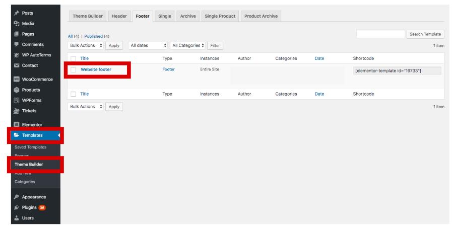 Edit site header under Theme Builder under Templates