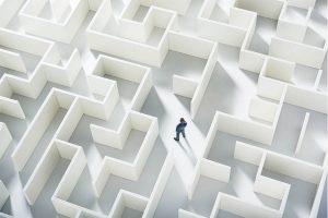 person inside a maze