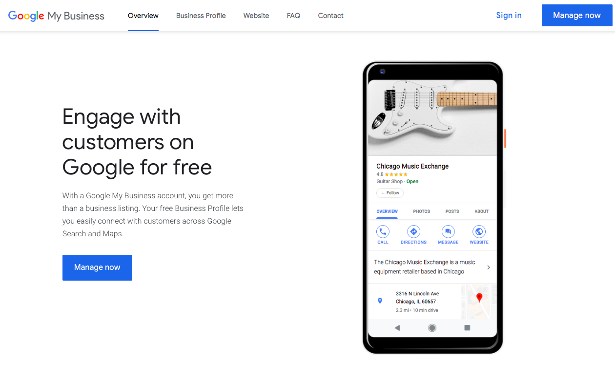 Google My business overview page
