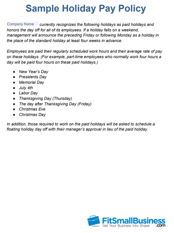 Holiday Pay Policy for Businesses That Close on Holidays Template