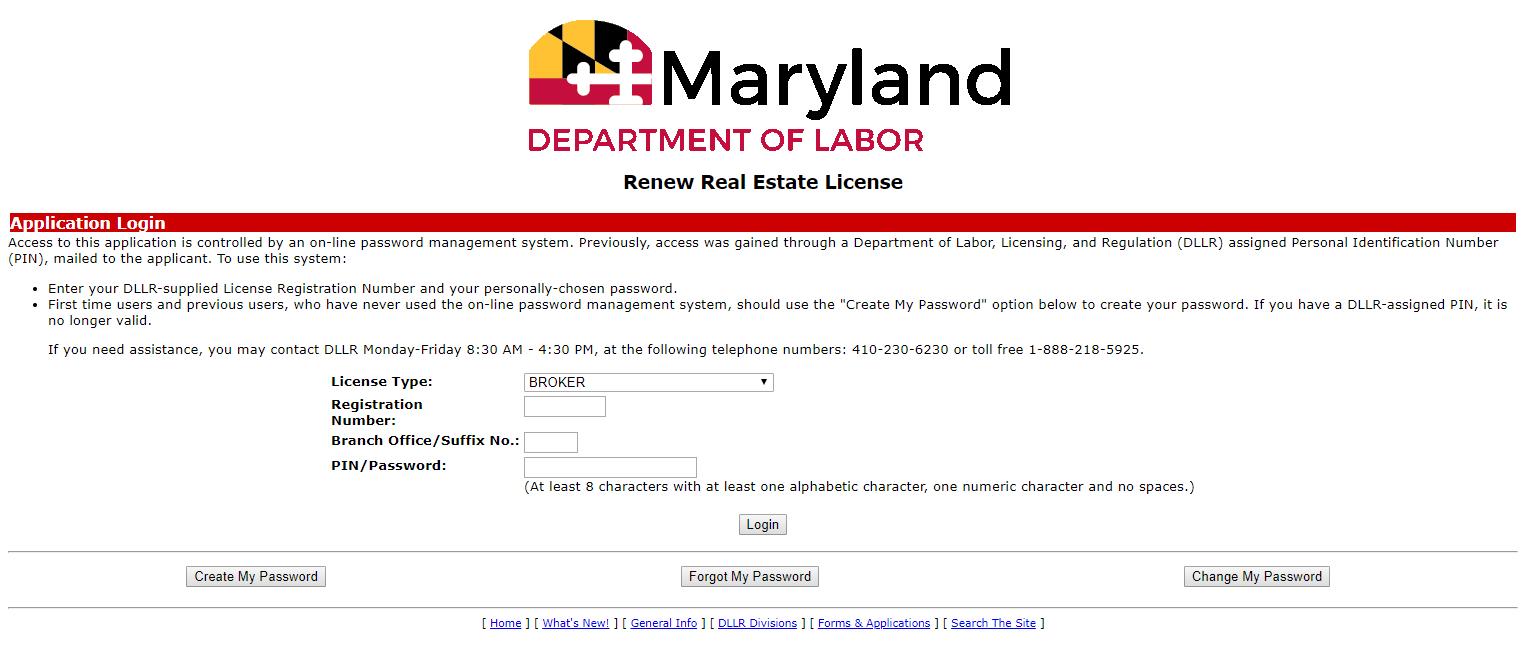 Maryland Real Estate License Renewal Portal