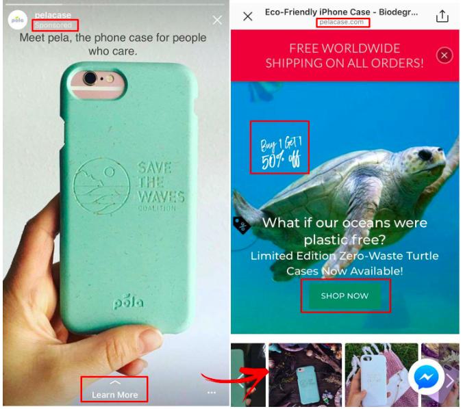 Pela Case Instagram ad example