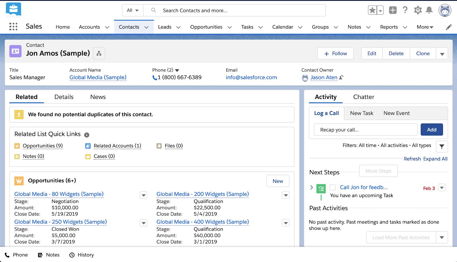 Salesforce Essentials contact management