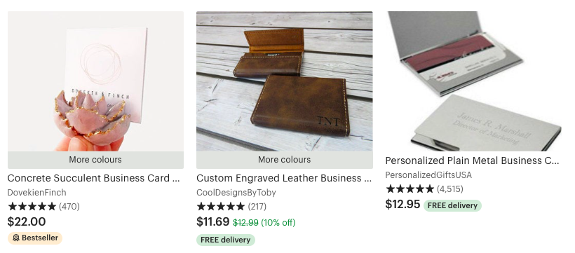 Etsy selection of personalized business card holder