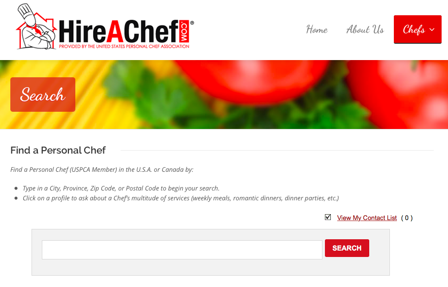 Search for a chef using Hire A Chef