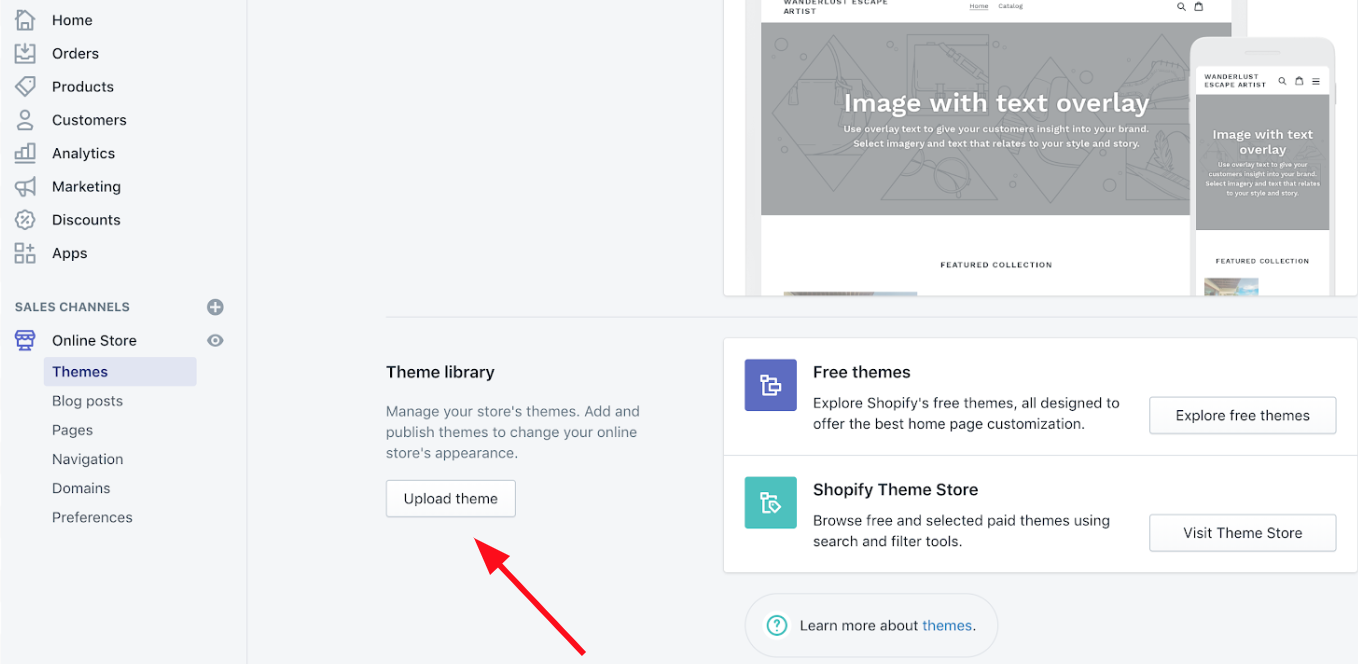 importing a shopify theme screen to facebook screen