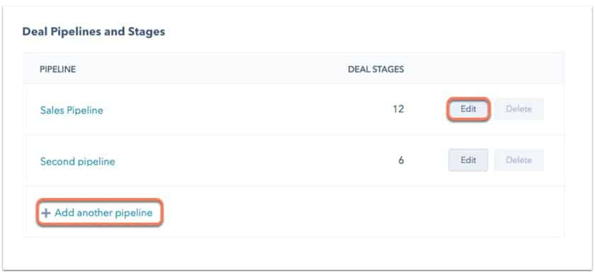 Screenshot of HubSpot CRM customizable deal stages
