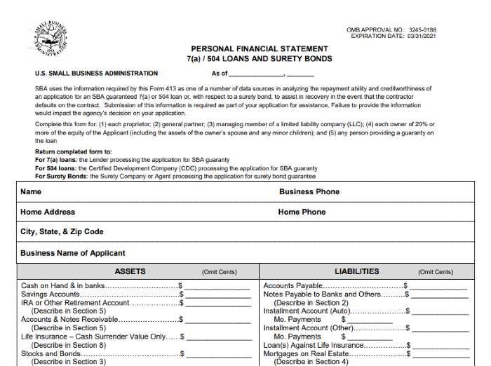 SBA Form 413