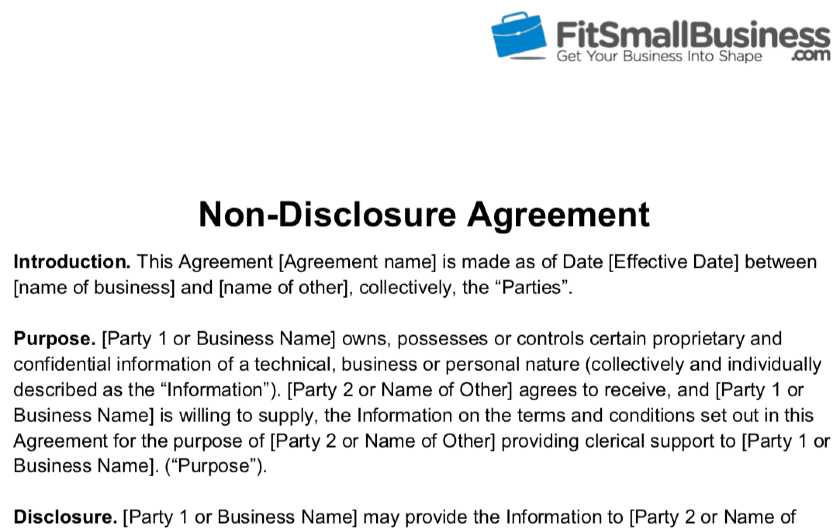 Screenshot of Fit Small Business Providing a Free Non-Disclosure Agreement