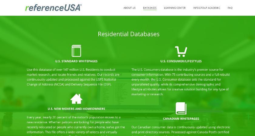 Screenshot of ReferenceUSA Collecting Market Research Data