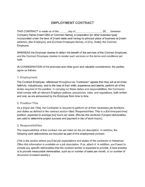 Employment Contract 1099