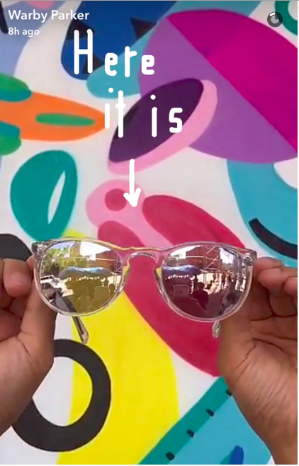 Warby Parker offers exclusive frames via Snapchat image