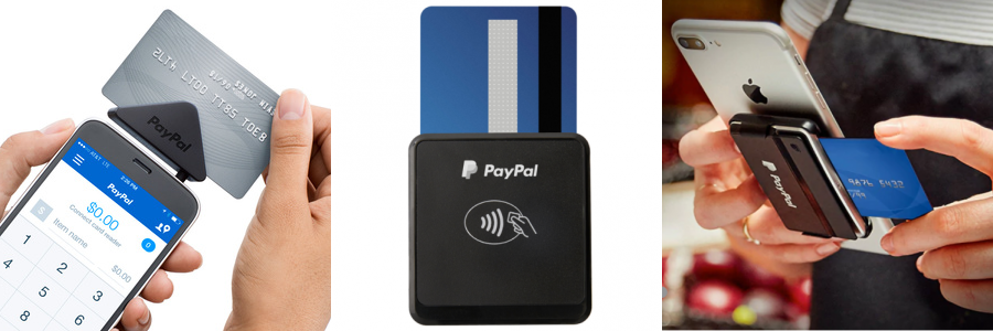 Images of several PayPal's credit card readers