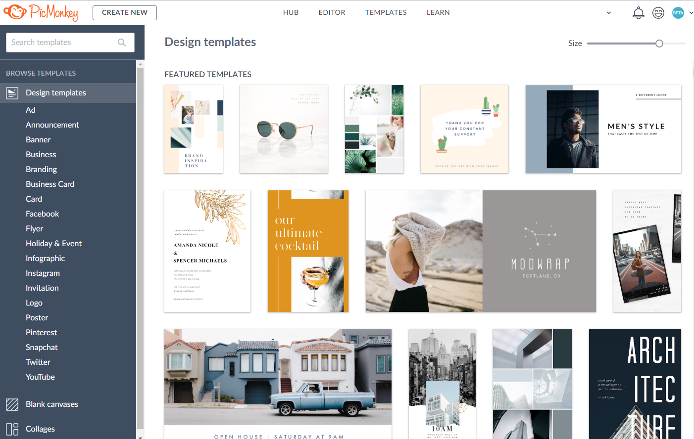 PicMonkey featured design templates