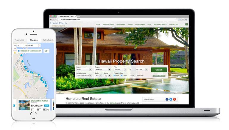 Real Geeks IDX Website phone and desktop view info-graphics
