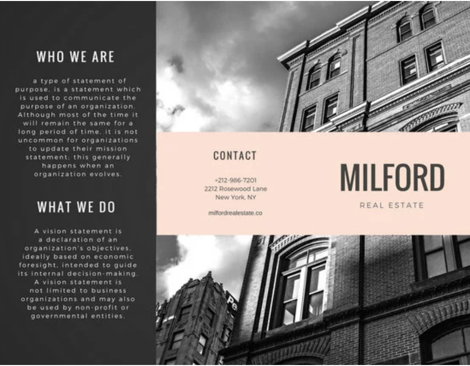 Milford Real Estate Brochure by Canva
