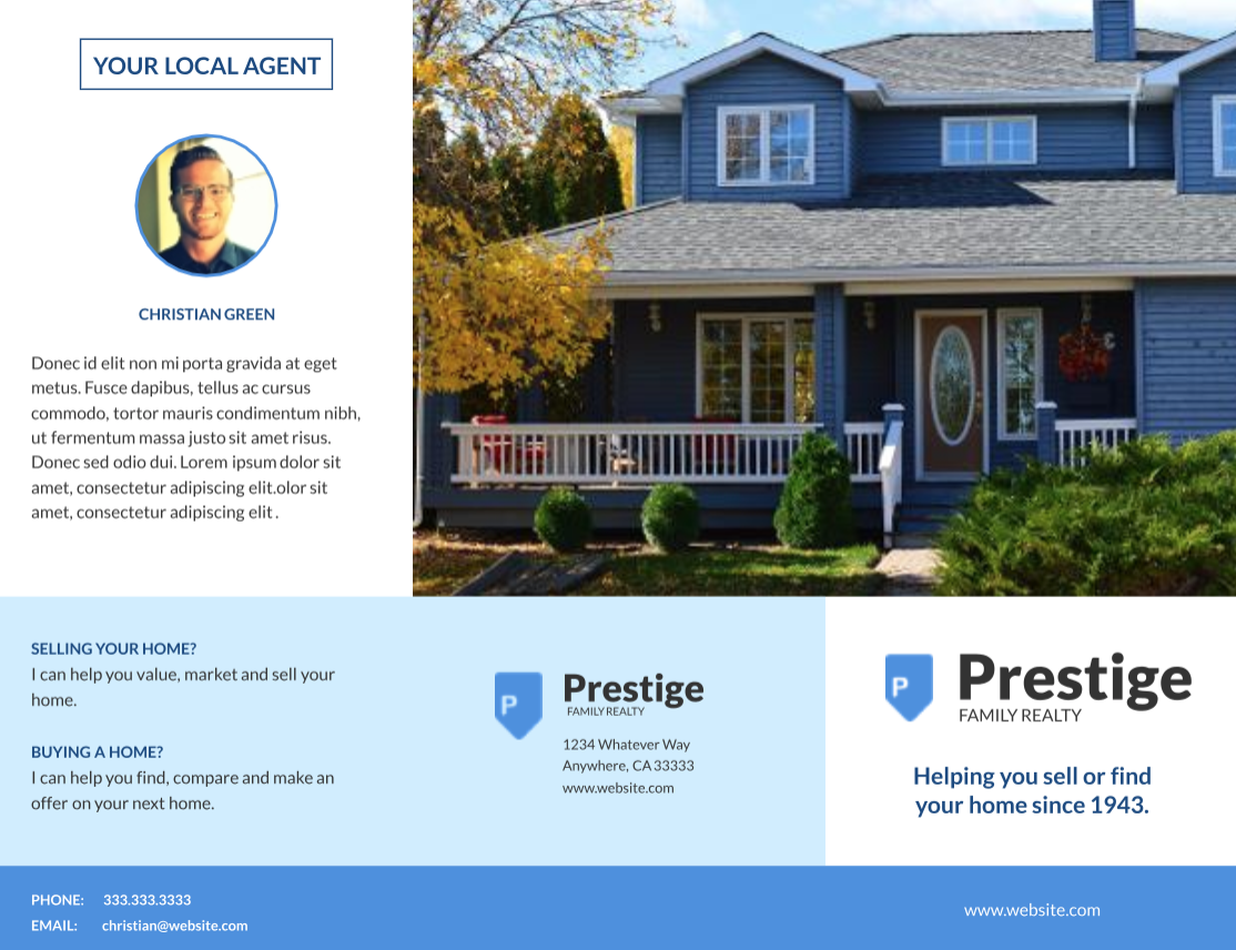 Residential Real Estate Trifold by Lucidpress