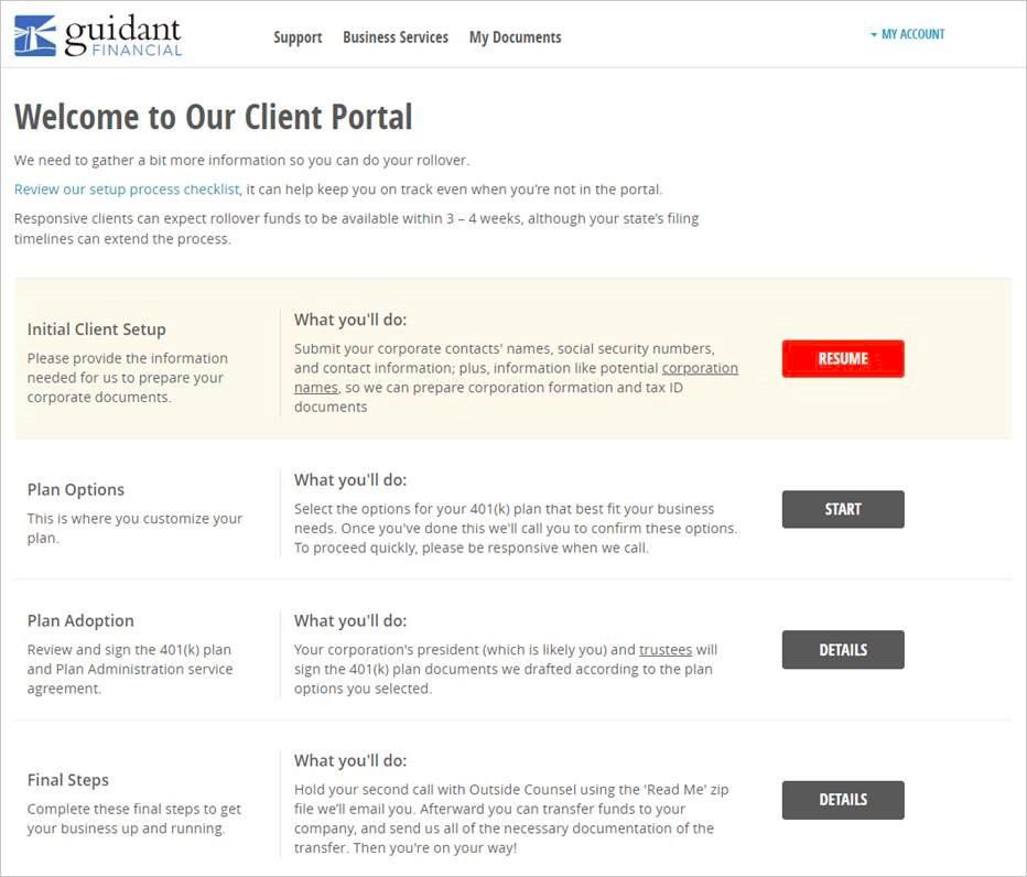 Guidant client portal