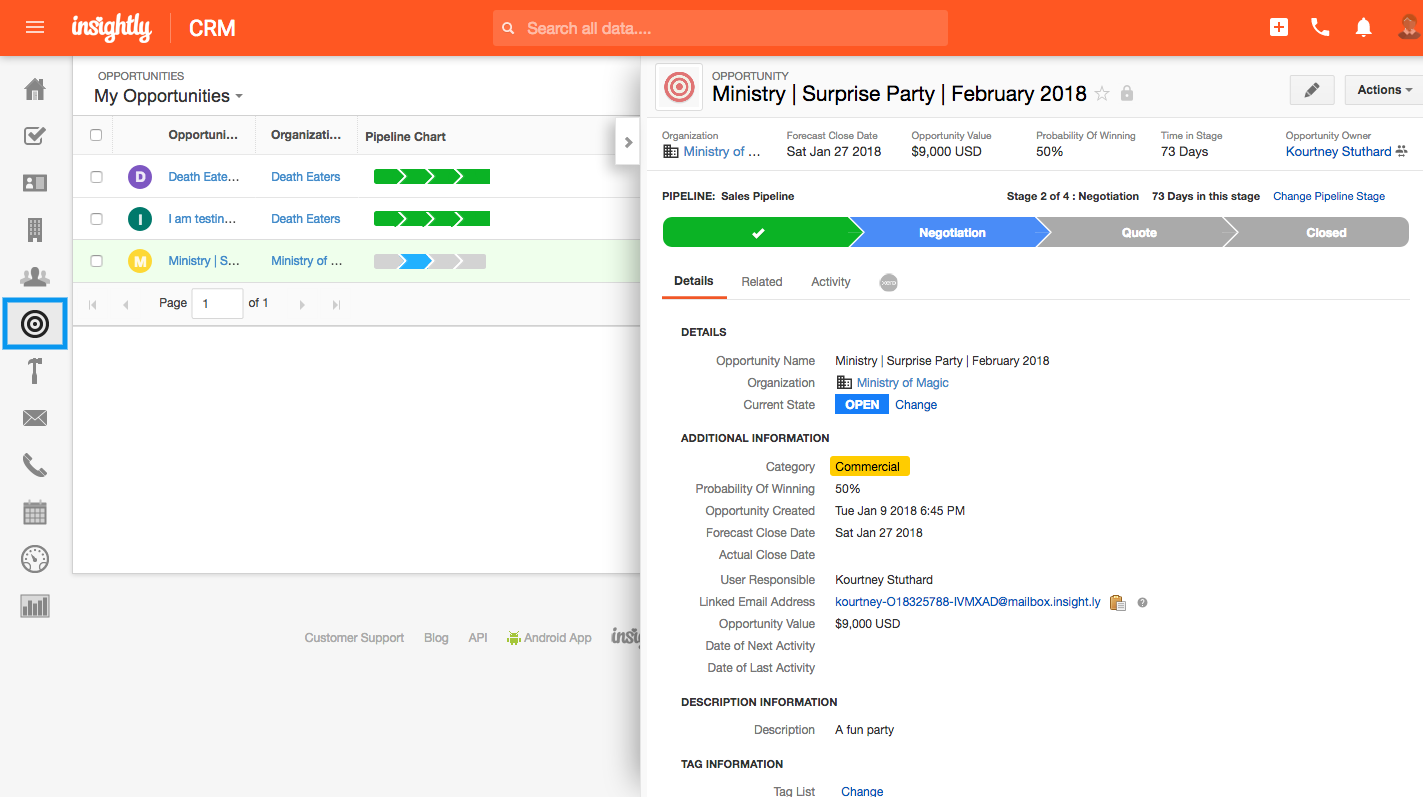 Managing the sales process in Insightly dashboard view