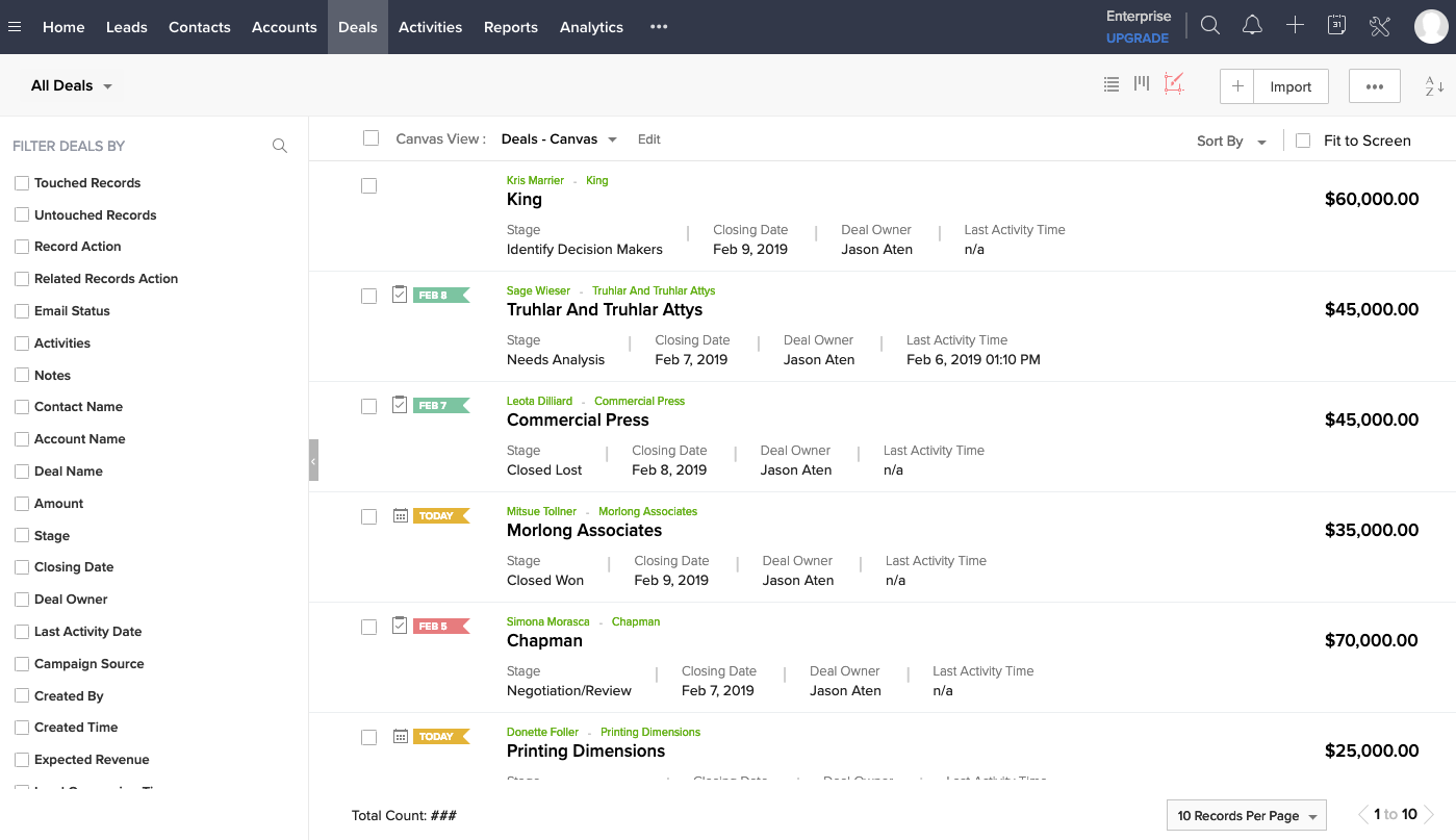 Image that features managing deals using Zoho CRM