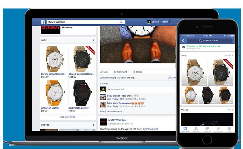 facebook shop on desktop and mobile