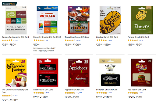 Browse restaurant gift cards on Amazon