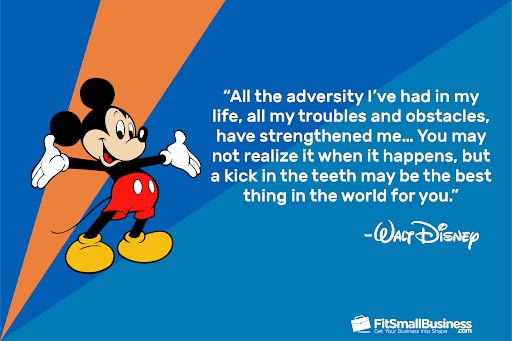 walt disney quote graphic on adversity