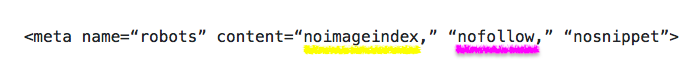 Esempi di meta tag robot: Noimageindex e Nofollow