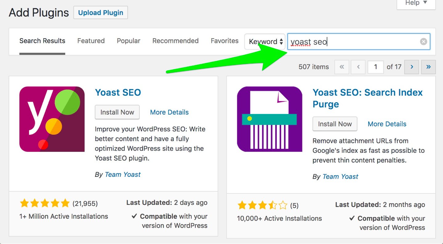 Searching for Yoast in WordPress Plugin Database info-graphics