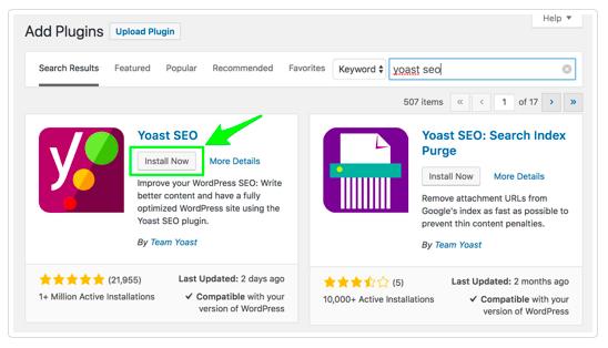 Installazione di info-grafica Yoast SEO