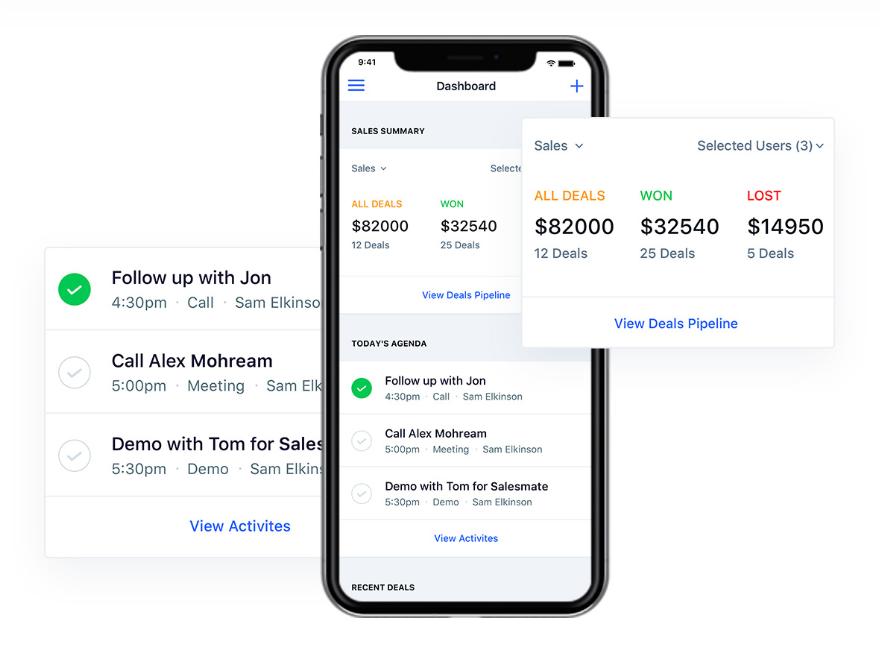 Salesmate mobile functionality