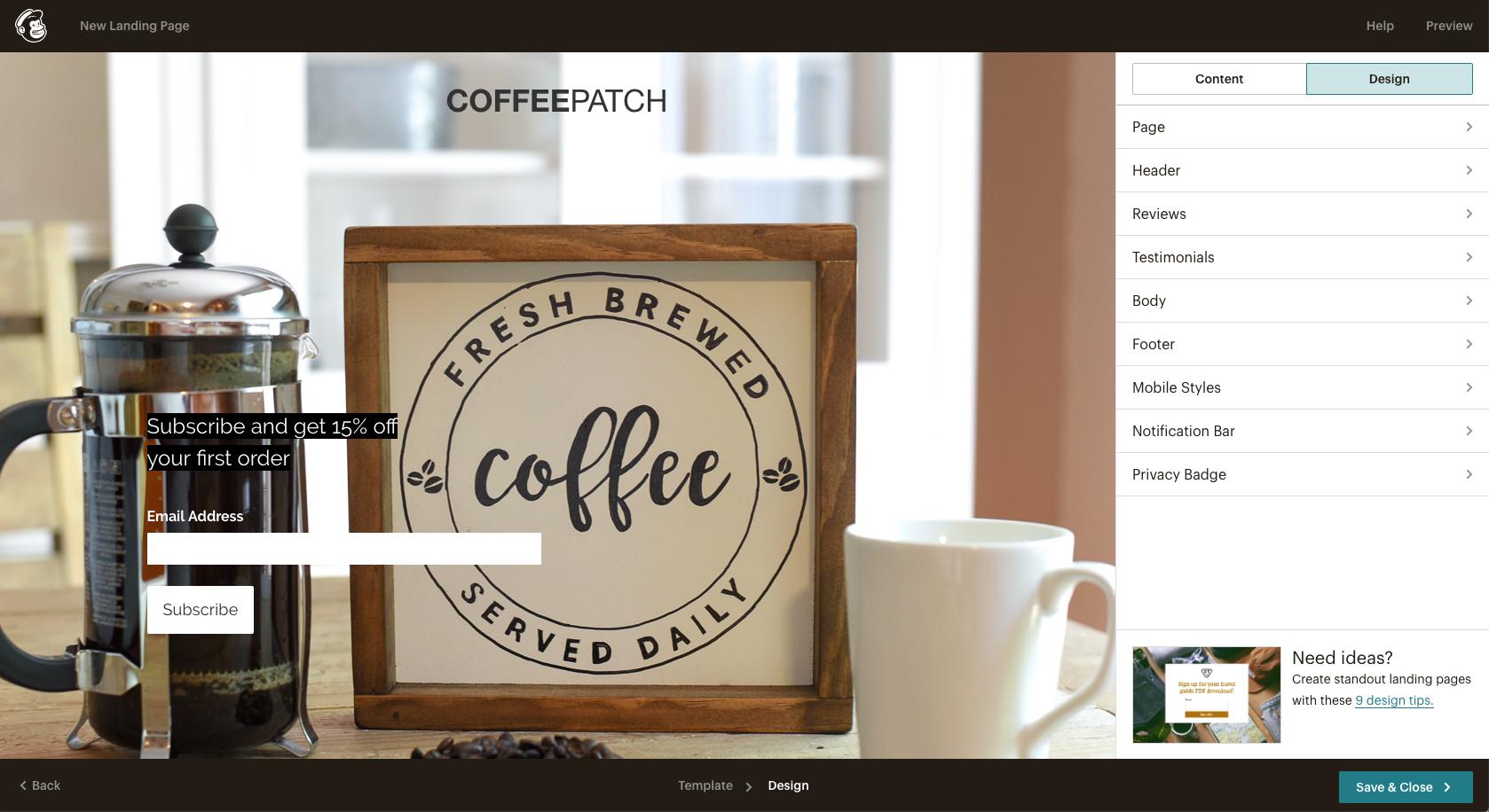 Mailchimp email design interface